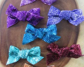 Glitter Velvet Bow Multiple Colors Clip or Headband