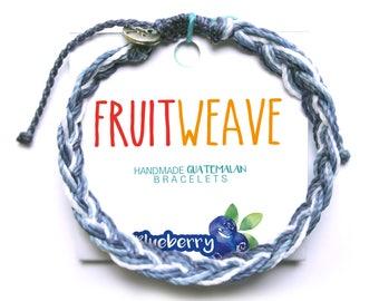 BLUEBERRY FEATHER BRACELET, Guatemalan Bracelets, Handmade bracelets, colorful bracelets, fruit based, fruit weave, friendship bracelets.