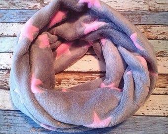 Loop scarf Star Grey Pink Wellnessfleece