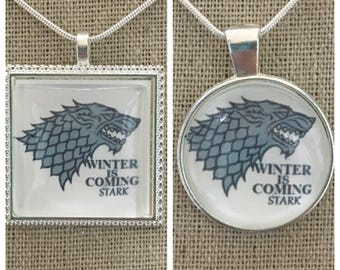 Game of thrones-house of stark pendant.Stark wolf pendant.Winter is coming.House of stark jewelry.Game of thrones jewelry