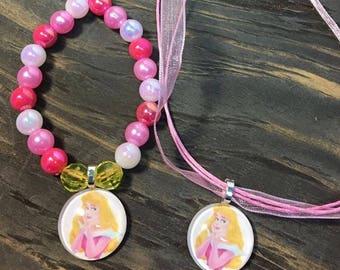 Princess Aurora party favors.Aurora bead bracelet.Aurora pendant necklace.Princess Aurora birthday party