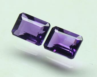 Natural Amazing AAA purple African Amethyst Size 7x5 MM faceted 2 PCs Lot Octagon CODE :- AQ34