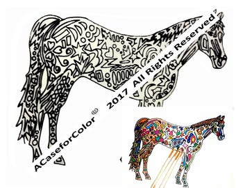 Horse, Horses,  Equestrian, Ponies, Color a Horse Project, Unique Coloring, Personalized Coloring Project, Creative Coloring Activity, Gift