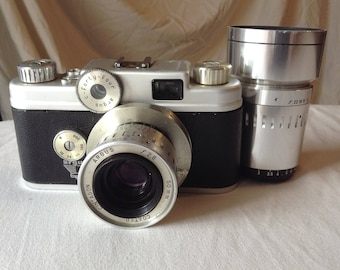 Vintage Camera Argus C Forty-Four with Telephoto lense and original cases