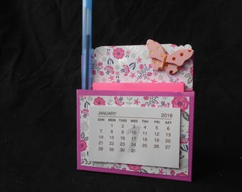 Handmade Desk Set with post it note, calendar and pen.