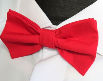Bow Tie. UK Made.Bright Red. Cotton. Premium Quality. Pre-Tied.