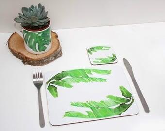 Tropical Banana leaf Placemat | Tabletmat set | Jungle Placemat | Table Setting | Modern Home | Flower Placemats | Place mat