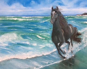 Horse painting original Horse oil painting on canvas Large horse painting Horse on the beach art Animal art Landscape painting Free shipping