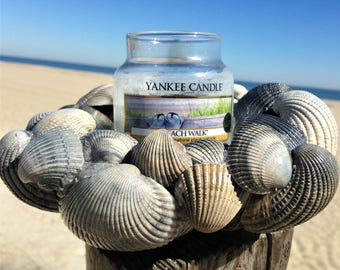 Blue / Silver Sea Shell Coastal Candle Holder