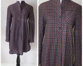 1990s Grunge Flannel Shirt Dress
