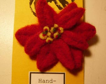 Needle felted Poinsettia red flower Brooch