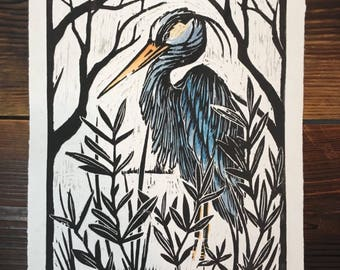 Heron//gifts for her//gifts for him//Kunstdruck//graphics//Woodcut