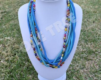Blue Silk fabric multi layer necklace