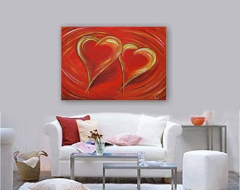 "Large acrylic painting on canvas 100x70x1, 8 cm (40 ""x28""), abstract ""Sweetheart"" by VictoriasFineArt"