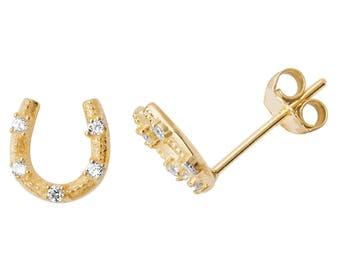 9ct Yellow Gold 5x5mm Lucky Horseshoe Cz Stud Earrings