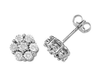 9ct White Gold 0.08ct Diamond Cluster Illusion 6mm Stud Earrings
