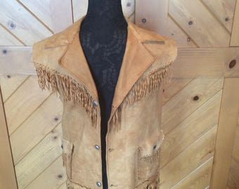 Vintage Western leather fringed vest