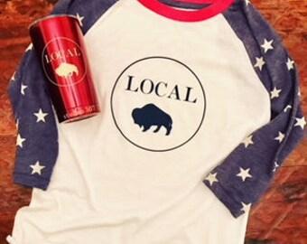 Circle Local Red, White & Blue Baseball T-Shirt