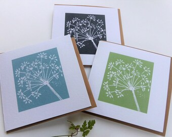 Fennel lino cut greetings card