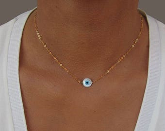 Gold Eye Necklace, Evil Eye Necklace, Dainty Gold Necklace, Dainty Eye Necklace Gold, Evil Eye Pendant, Birthday Gift for Best Friend.
