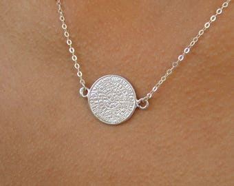 Gold Disc Necklace, Phaistos Disc, 14k Gold Fill, Sterling Silver, Greek Necklace, Greece Jewelry, Silver Necklace,  Ancient Greece Jewelry