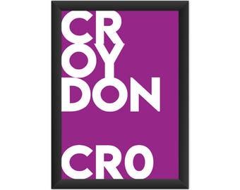 Croydon Typography CR0 - Giclée Art Print - South London Poster
