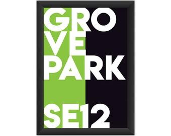 Grove Park Typography SE12 - Giclée Art Print - South London Poster