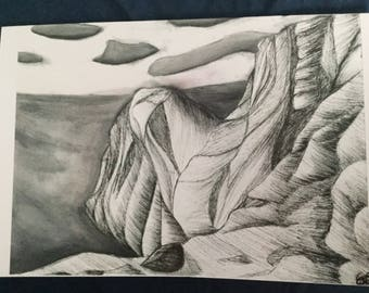 Card of mountain and sea