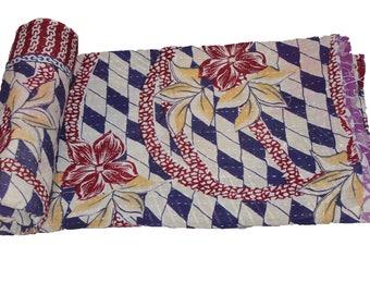 Twin Handmade Reversible Vintage Sari Kantha Quilt Twin Old Cotton Kantha Bedspread Kantha Gudri Cotton Blanket 141