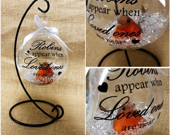 Remembrance Robins Appear When Loved Ones Are Near 10cm Clear Bauble Hanging Christmas Tree Decoration Ornament