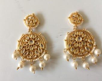 Light weight Kundan Chandbali earrings
