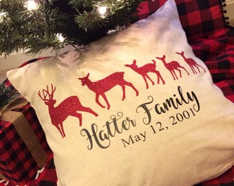 Personalized Deer Family pillow