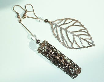 """asymmetry leaf"" copper earrings jewelry"