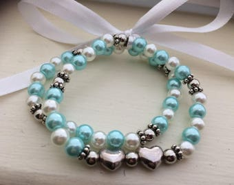 Girls Heart Bracelet Set