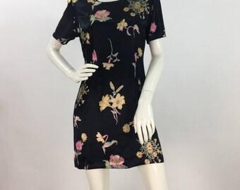 90s black floral mini dress/vintage mini dress