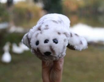 Earth Wrinkles Three-eyed furry plush creature OOAK