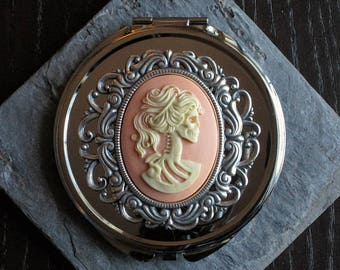 Skeleton silver compact mirror, pink cameo, day of the dead gift, Halloween gift, bridesmaid gift, gothic gift, unique gift ideas for her