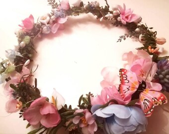 Beautiful handmade blue and peach peony and succulent and butterfly headdress/ tiara/crown/circlet