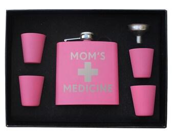 Mom's Medicine Funny Flask laser engraved hip Flask gift set Christmas gift Perfect Moms Medicine Mothers Day gift