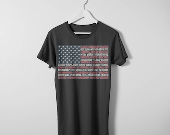USA Flag T-shirt. Available in both men's and women's sizes. Printed on comfy cotton Bella Canvas T-shirt.