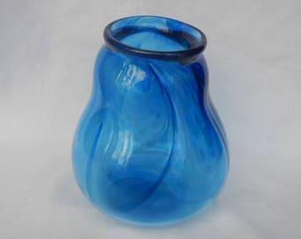 Hand blown blue swirled glass vase