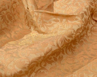 Golden kalamkari flower shape brocade silk fabric-664