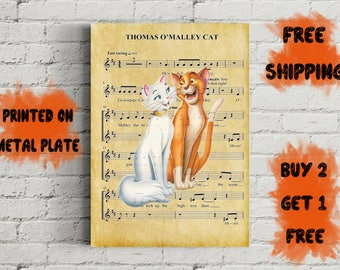 Thomas O'Malley Cat Music Art MEtal Print-Aristocats Psoter-Disney Gift-Gift For Him-Kdis Gift-Kids Decor-Disney Aristocats Psoter-Nursery