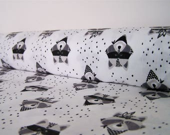 Printed coupon of raccoons, 50 x 48 cm, fabric cotton