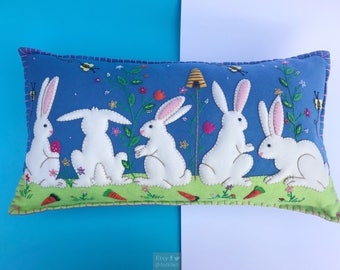 bunny bee decorative pillow / home decoration / rabbit decoration / easter decor / easter primitive decoration / primitive pillow