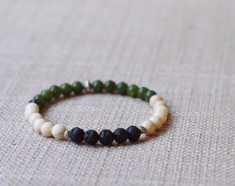 Canadian Jade / Fossil Jasper / Lava Diffuser Bracelet