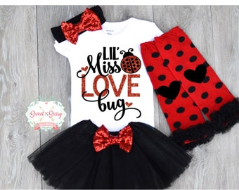 Baby Girl Valentines Day Outfit, Pageant Wear, Cute Baby Girl Clothes, Lady  Bug