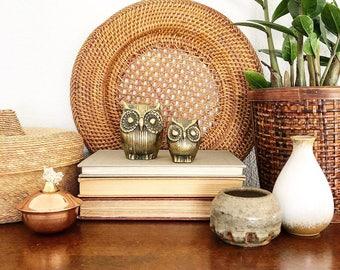 Vintage Pair of Brass Owl Figurines