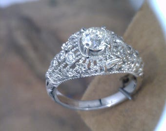 Custom Filligree Vintage Engagement Ring with Humming Birds All Custom Ring Prices Vary