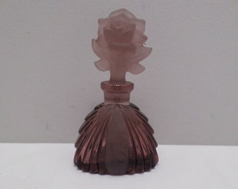 Vintage Purple Glass Perfume bottle with a purple flower stopper